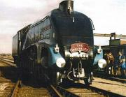 A4 Pacific 4498 <I>Sir Nigel Gresley</I> on display at an open day at Thornaby on 10 September 1972 sporting a <I>Waverley</I> headboard.<br><br>[John Alexander&nbsp;10/9/1972]