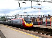 A Pendolino pulls into Stafford platform 4 on 16 August 2008.<br><br>[Don Smith&nbsp;16/08/2008]