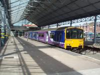 Platform 6 at Southport <I>Chapel Street</I> in August 2008, with 150142 ready to leave for Rochdale via Wigan and Manchester. The 1970s concrete concourse at Southport detracts from the original trainshed that still covers the platforms. <br><br>[Mark Bartlett&nbsp;13/08/2008]