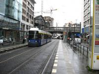 Tram outside Berlin Bahnhof Friedrichstrasse. The U-Bahn entrance can be seen on the right and the S-Bahn/main line station to the left of the bridge in the background. A superb example of integrated transport.<br><br>[Michael Gibb&nbsp;18/08/2008]
