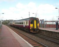 Anniesland - Queen Street shuttle service, formed by 156 508, calls at Summerston on 19 April 2008. <br><br>[David Panton&nbsp;19/04/2008]