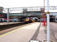 Another busy period at Stafford station on 16 August 2008, with Pendolinos at platforms 1, 5 and 6 and a Voyager occupying platform 4.<br><br>[Don Smith&nbsp;16/08/2008]