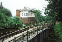 Swing Bridge East signal box stands on the east side of the Forth & Clyde canal at Falkirk in June 1997.<br><br>[David Panton&nbsp;/06/1997]