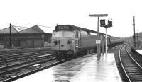 A pair of class 50 locomotives, with 433 leading, arrives at Carlisle platform 3 with a northbound service on a wet 30 May 1972. <br> <br><br>[John McIntyre&nbsp;30/05/1972]