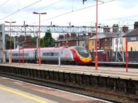 Pendolino set 390003 approaching platform 1 at Stafford on 16 August 2008.<br><br>[Don Smith&nbsp;16/08/2008]