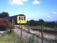 The DMU service from Plymouth arrives at the branch terminus at Gunnislake in 1991. The old station was closed 3 years later when a modern replacement was opened closer to Bere Alston. <br><br>[Ian Dinmore&nbsp;//1991]