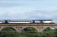Silver NXEC HST set crossing Markinch Viaduct with 1S12 on 23 August 2008.<br><br>[Brian Forbes&nbsp;23/08/2008]