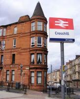 Example of the new Station signage at Crosshill on Glasgows South Side. The sign was replaced during the July/ August line closure <br><br>[Colin Harkins 23/08/2008]