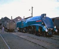 Admiring looks across the tracks at Kingmoor shed as immaculate looking A4 Pacific no 4498 <I>Sir Nigel Gresley</I> pays a visit in May 1968. [See image 21259]<br><br>[Robin Barbour Collection (Courtesy Bruce McCartney)&nbsp;/05/1968]