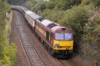 EWS 60100 with the <I>Pathfinder</I> railtour between Dalgety Bay and Aberdour on 25 August. <br><br>[Bill Roberton&nbsp;25/08/2008]