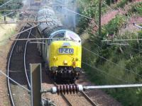 55022 <I>Royal Scots Grey</I> with the throttle open wide at Elderslie during the SRPS <I>Routes & Branches</I> tour on 24 August 2008.<br><br>[Graham Morgan&nbsp;24/08/2008]