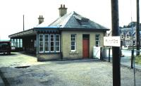 Station building on the down platform at Muir of Ord in 1985, now demolished.<br><br>[David Panton&nbsp;05/08/1985]