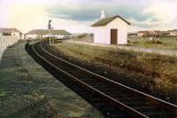 The disused Kilmarnock platforms (looking to Kilmarnock) on the alignment opened by the GPKAR on regauging the Kilmarnock and Troon Railway. The original KTR alignment had almost no curve and was to the right.<br><br>[Ewan Crawford&nbsp;//1989]