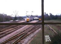 The local branch train for Tunbridge Wells West stands in the bay at Eridge, as a through service arrives at the platform to the left. Photographed from the signal box in March 1985, just 4 months before closure of the branch line. Much of the former branch is now in the hands of the Spa Valley Railway who plan to re-establish services over its whole length in the near future.<br><br>[Ian Dinmore&nbsp;22/03/1985]