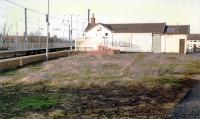 The now demolished station building in the V of the junction at Barassie. View looks north.<br><br>[Ewan Crawford&nbsp;//1989]