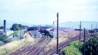 General view of the 1894 Glasgow and South Western Railway station at Princes Pier, Greenock, taken from the signal box in August 1965. This station replaced the first Princes Pier station (1869), located 90m due south, and originally named Albert Harbour.<br><br>[G W Robin&nbsp;25/08/1965]