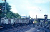 Crab 42780 heads north past Ayr MPD and enters Newton on Ayr with coal train in August 1965.<br><br>[G W Robin&nbsp;/08/1965]