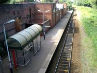 View from the road bridge at the east end of Lytham station looking towards St Annes on 22 August 2008. The platform shelter is a far cry from the splendour of the former station building, now converted to a restaurant and operating as the <I>Station Tavern</I>. [See image 20528]<br><br>[John McIntyre&nbsp;22/08/2008]