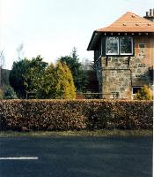 The signalbox at Dalchonzie Halt. View looks to Comrie from the former level crossing.<br><br>[Ewan Crawford&nbsp;//1990]