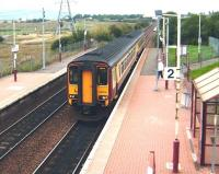156 504 arrives at Baillieston on a service for Whifflet on 30 August 2008.<br><br>[David Panton&nbsp;30/08/2008]