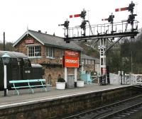 The signal box and crossing at the south end of Grosmont station in April 2008. <br><br>[John Furnevel&nbsp;03/04/2008]