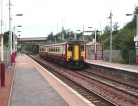 Whifflet train at Carmyle on 30 August, formed by unit 156 507. <br><br>[David Panton&nbsp;30/08/2008]