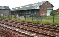 Looking across the main line at Sinclairtown to the former up yard on 22 August. The main occupants of the yard survive in the form of the substantial goods shed and, opposite that, the former Kirkcaldy Depot of National Carriers Limited, whose vehicles were once a common sight in most of our towns and cities. Nowadays these premises are rented out for light industrial and commercial use by various small businesses. [See image 37976]<br> <br><br>[John Furnevel&nbsp;22/08/2008]