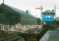 Signal box, crossing and shed at Athenry, County Galway, in 1988.<br><br>[Bill Roberton&nbsp;//1988]