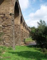 The east elevation of the 10 arch Martholme viaduct, striding across the River Calder near Great Harwood on the closed <I>Padiham Loop</I>. <br><br>[Mark Bartlett&nbsp;06/09/2008]