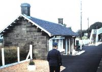 The now demolished eastbound platform waiting room at West Calder seen in October 1985...and one of those seldom photographed hats.<br><br>[David Panton&nbsp;11/10/1985]