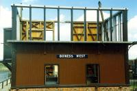 The signalbox relocated from Garnqueen South Junction under construction at Boness.<br><br>[Ewan Crawford&nbsp;//1990]