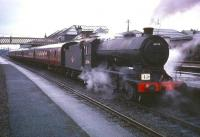 Class J38 0-6-0 65914 stands at Stirling with The Scottish Rambler no 5 railtour, in April 1966. A St Margarets locomotive for a large part of her life, 65914 moved to Thornton Junction in 1965.<br><br>[Robin Barbour Collection (Courtesy Bruce McCartney)&nbsp;11/04/1966]