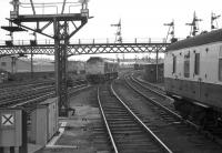 A class 24 locomotive moves off a freight about to be shunted into Guild Street yard on 23 April 1973<br> <br><br>[John McIntyre&nbsp;23/04/1973]