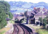 View south from Llanrwst on the Blaenau Ffestiniog branch in July 1986. The station was renamed Llanwrst North by BR in 1989. Note the smoke stains on the bridge.<br><br>[Ian Dinmore&nbsp;12/07/1986]