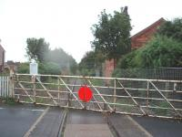 Hillylaid Crossing lies to the north of Thornton-Cleveleys station. The notice announces that the line from here to the station is under the care of the Poulton & Wyre Railway Society and their efforts can be appreciated here as the line north of the crossing is completely overgrown. View south at map ref SD 343427<br><br>[Mark Bartlett&nbsp;09/09/2008]