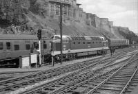 D9015 <i>Tulyar</i> stands at the east end of Waverley in August 1963 with a train for Kings Cross.<br><br>[Colin Miller&nbsp;02/08/1963]