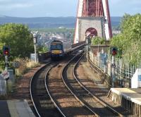 Bi-directional signalling at the south end of the Forth Bridge seen from Dalmeny footbridge as an Fife Circle departs over the bridge.<br><br>[Brian Forbes&nbsp;11/09/2008]