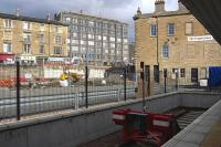 The new view from platform zero. Looking towards the cleared site of the Caledonian Ale House to the left of the station building at Haymarket on 11 September 2008. Demolition was required to make way for the new Edinburgh tramway.<br><br>[Bill Roberton&nbsp;11/09/2008]