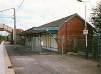 The old CR station building on the northbound platform at Wishaw cordoned off in August 1997 pending demolition. The structure was finally demolished in 2000.<br><br>[David Panton&nbsp;/08/1997]