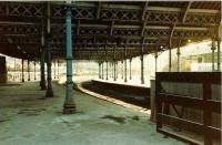The abandoned excursion bays at the south end of Tynemouth in 1982. Much restoration and refurbishment has been carried out at the station since that time, although the poor state of the roof continues to cause concern. [See image 30456]<br><br>[Colin Alexander&nbsp;//1982]