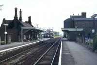 View towards the level crossing at Downham Market, Norfolk in 1981.<br><br>[Ian Dinmore&nbsp;//1981]