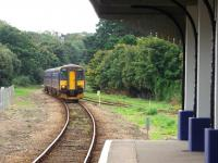 Two FGW <I>Bubble Cars</I> led by 153373 approach the Falmouth Docks passenger terminus on a service from Truro. On the right the link to the disused goods branch into the dockyard can be seen.<br><br>[Mark Bartlett&nbsp;16/09/2008]