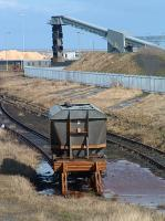 A wagon languishes in the <i>cripples</i> siding at Bates Staithes, Blyth. Given the state of the track from Newsham North Junction behind the camera it was unlikely to move any time soon.<br><br>[Ewan Crawford&nbsp;20/03/2004]