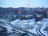 Looking west to Thornaby shed on a cold winter evening in 2004.<br><br>[Ewan Crawford&nbsp;28/02/2004]