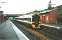 The pre-interchange era Markinch station in July 1998 with 158 723 on a service to Waverley.<br><br>[David Panton&nbsp;11/07/1998]