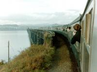 55015 <I>Tulyar</I> takes the <I>Deltic Salute</I> railtour onto the Tay Bridge on 24 October 1981.<br> <br><br>[Colin Alexander&nbsp;24/10/1981]