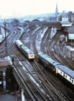 View west over Newcastle Central from the Keep in 1971 with a 64B EE Type 4 meeting a Peak on the ECML.<br><br>[John Alexander&nbsp;//1971]
