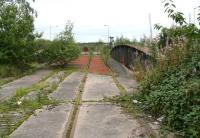 View west across the bridge over the Grange Burn from the abandoned South Sidings at Grangemouth in September 2008.<br><br>[John Furnevel&nbsp;23/09/2008]