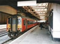 156 501 has recently arrived at Stranraer Harbour from Glasgow Central in October 1997 as passengers head for the ferry.<br><br>[David Panton&nbsp;/10/1997]