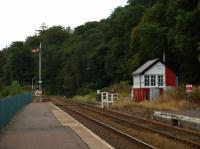 A southward look at the signal box at Dunkeld with semaphore signalling (taken Sept.2008)<br><br>[Brian Forbes&nbsp;/09/2008]
